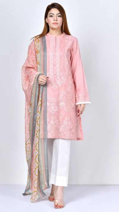 Limelight P1675 Peach Embroidered Lawn Shirt & Dupatta Summer 2019