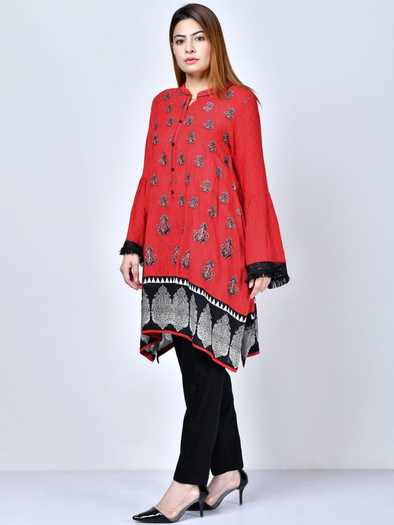 Limelight P2164 Red Embroidered Arabic Lawn Shirt Summer 2019
