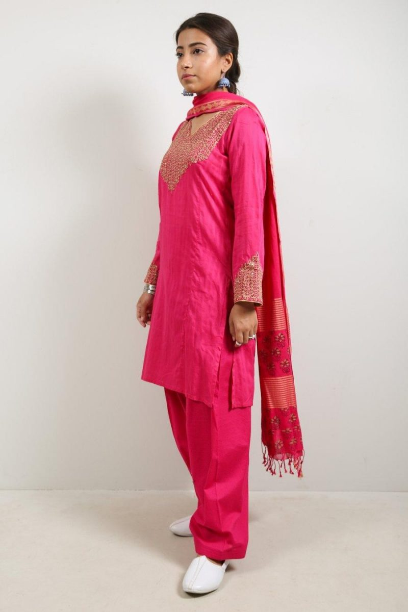 Generation F19961S Kundan Kari Pink Self Striped Lawn Suit Summer 2019