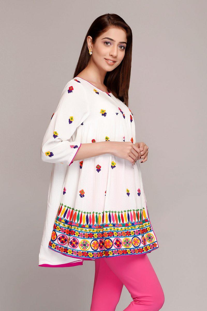 Rang Ja CR164602 Rang Baranga O.White Embroidered Karandi Frock Summer 2019