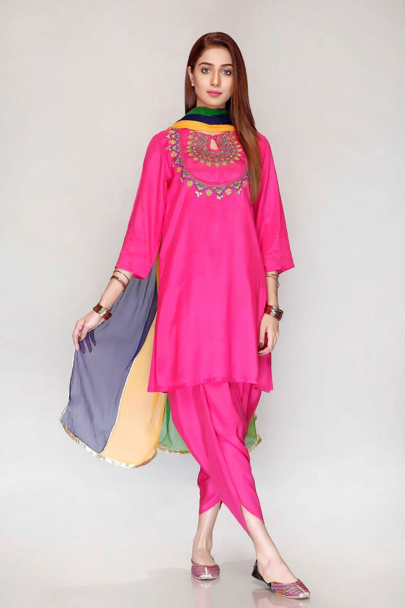 Rang Ja FRA17802 Pink Patti Gala Embroidered Raw Silk Suit Summer 2019