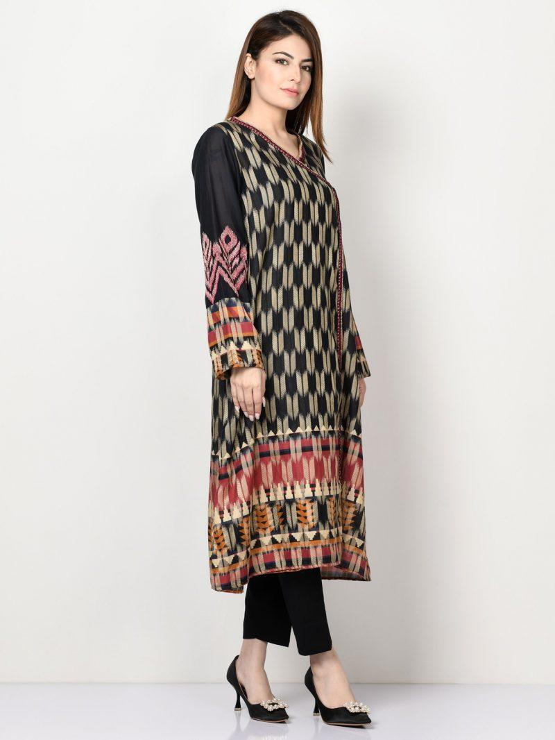 Limelight P1097 Black Embroidered Jacquard Shirt AW19