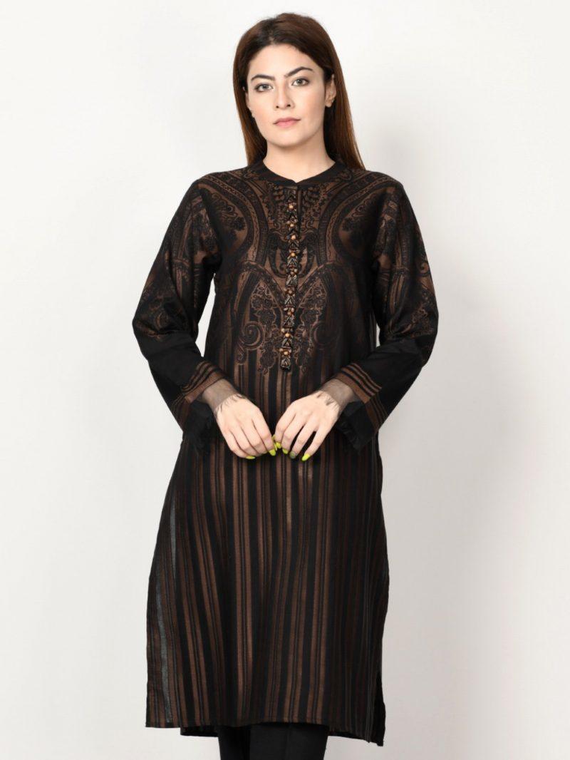 Limelight P1101 Black Embellished Jacquard Shirt AW19