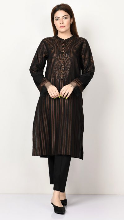 Limelight P1101 Black Embellished Jacquard Shirt AW19