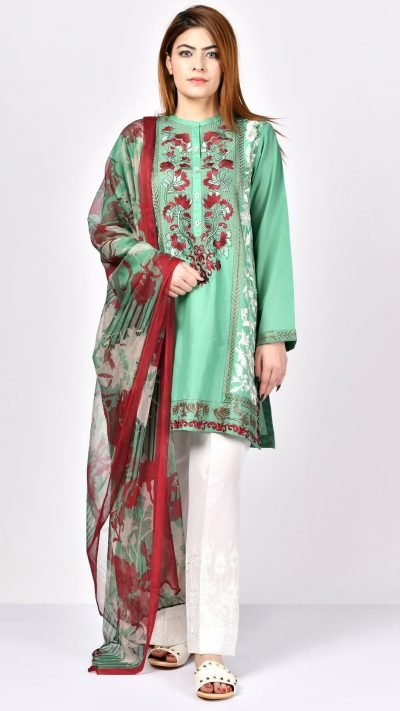 Limelight P1800 Light Green Embroidered Lawn Shirt & Dupatta Summer 2019
