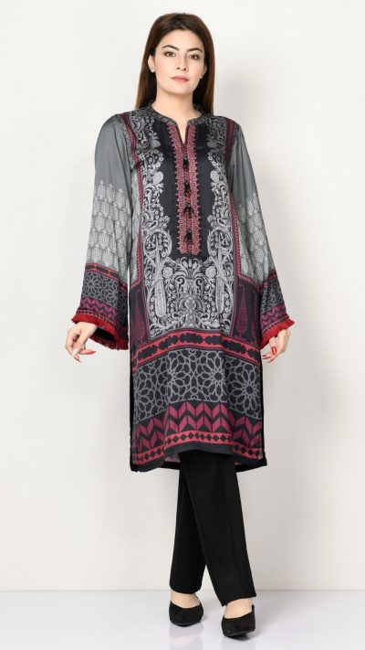 Limelight P2339 Grey Embroidered Silk Shirt AW19