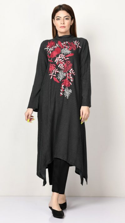 Limelight P3449 Black Embroidered Crepe Shirt AW19