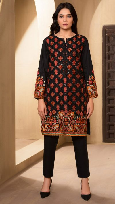 Limelight U0999 Black Embroidered Winter Cotton Shirt Unstitched AW19