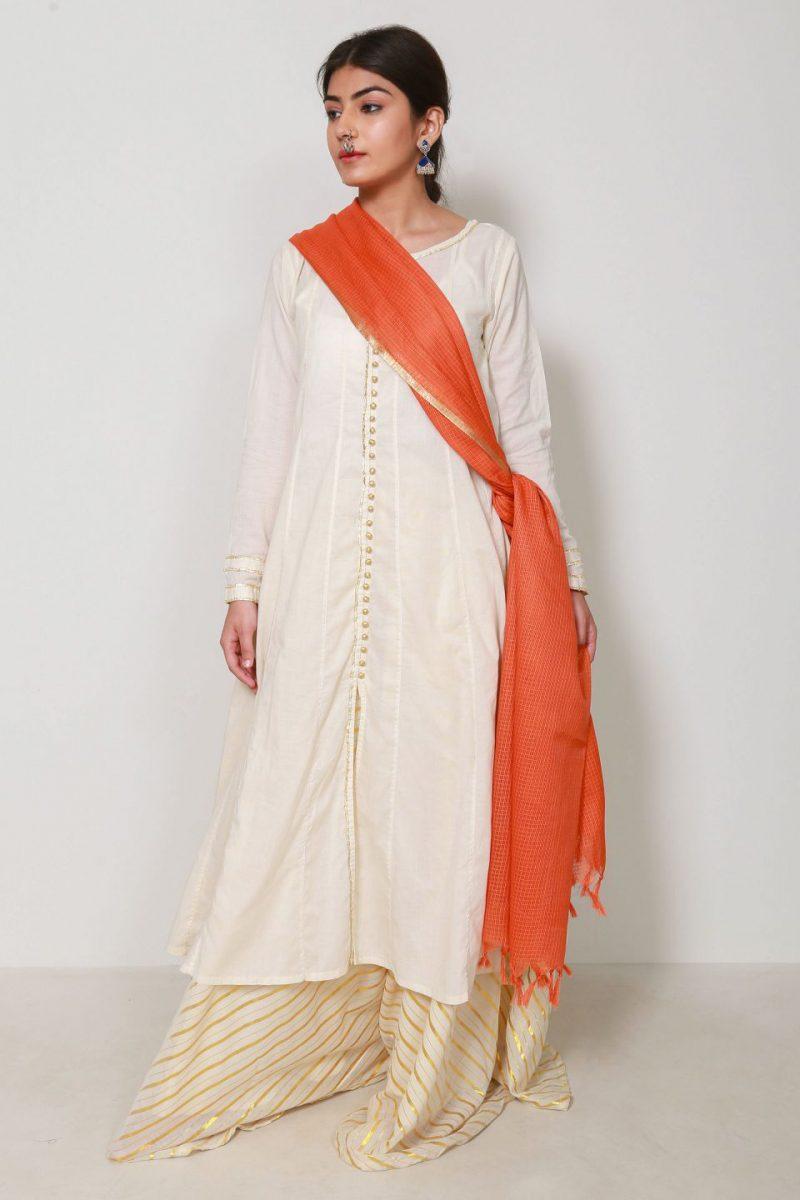 Generation D19666T Orange Resham Khaadi Net Dupatta