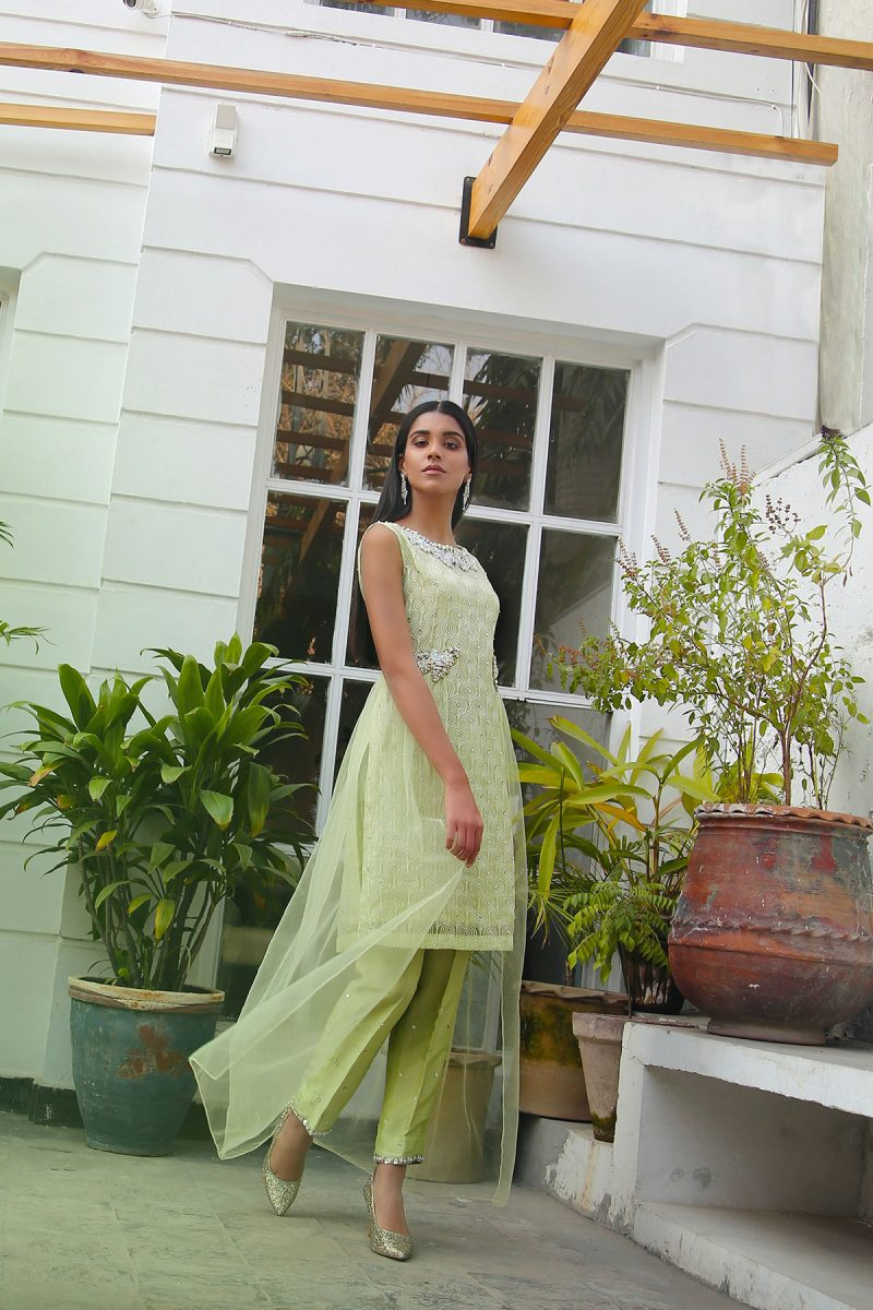 HA-LPC02 Lime Luxury Pret Collection AW19 by Hamza Anwar