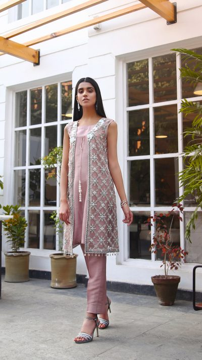 HA-LPC05 Tea Rose Luxury Pret Collection AW19 by Hamza Anwar