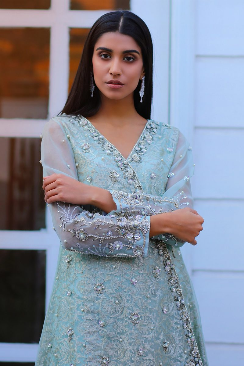 HA-LPC04 Iced Aqua Luxury Pret Collection AW19 by Hamza Anwar