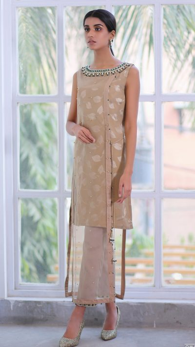HA-LPC06 Beige Luxury Pret Collection AW19 by Hamza Anwar