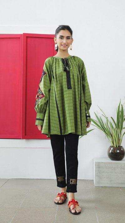 Ethnics Fusion Top Forrest Green WTB101574 SS20 - chambeili.com