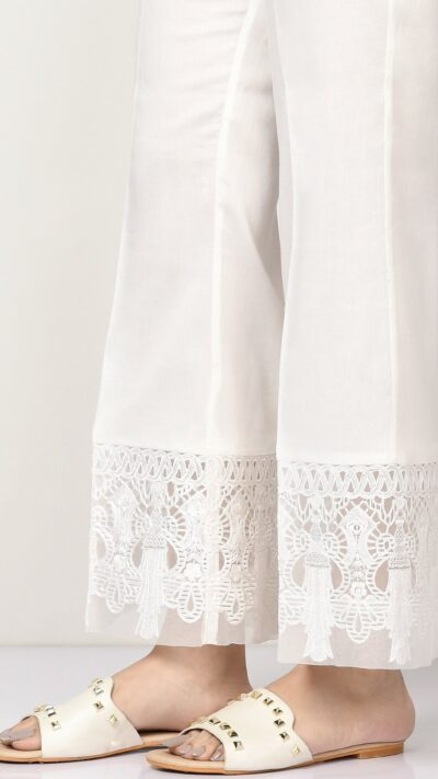 Limelight P2522 White Embroidered Satin Bootcut Trousers - chambeili.com