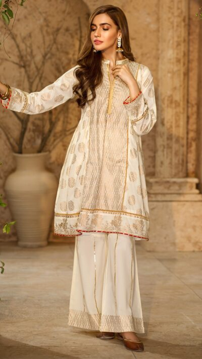 Origins Ishq Off White Printed Frock Suit 2 PC Summer 2020 - chambeili.com