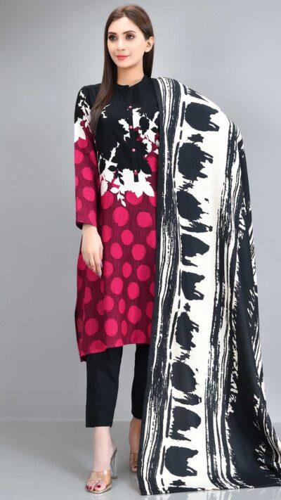 Limelight P4027SU Pink Printed Slub Khaddar Long Shirt + Poly Wool Shawl Winter 2020 - chambeili.com
