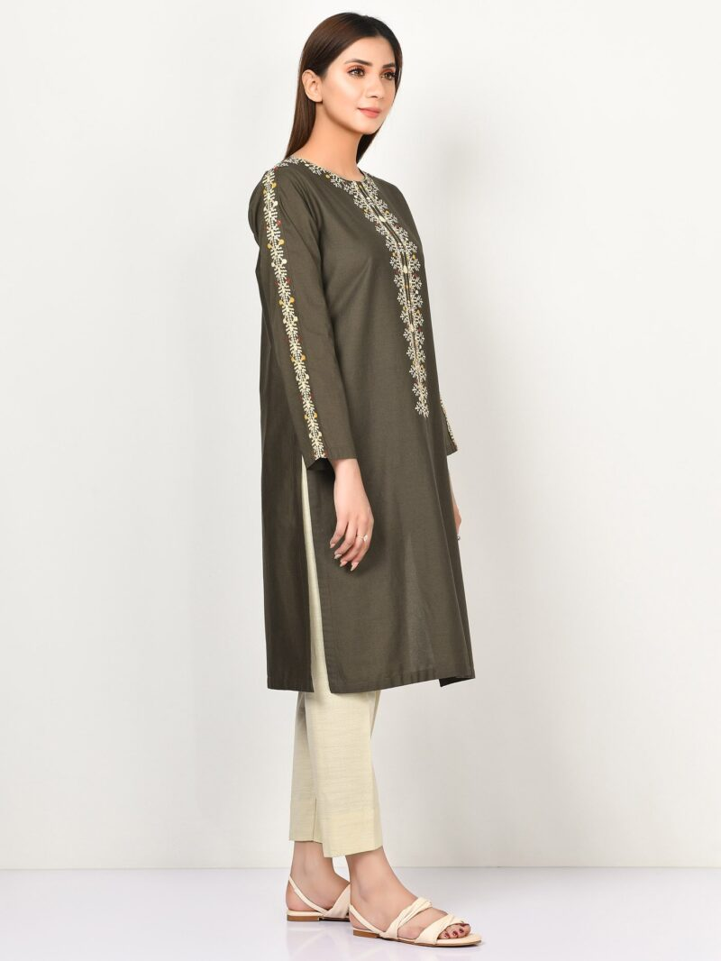 Limelight P4145SH Olive Green Embroidered Winter Cotton Long Shirt Winter 2020 - chambeili.com