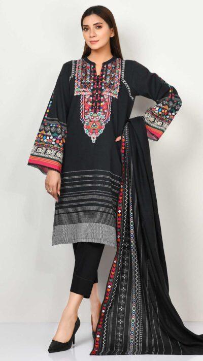 Limelight P4183SU Black Printed Slub Khaddar Long Shirt + Poly Wool Shawl Winter 2020 - chambeili.com