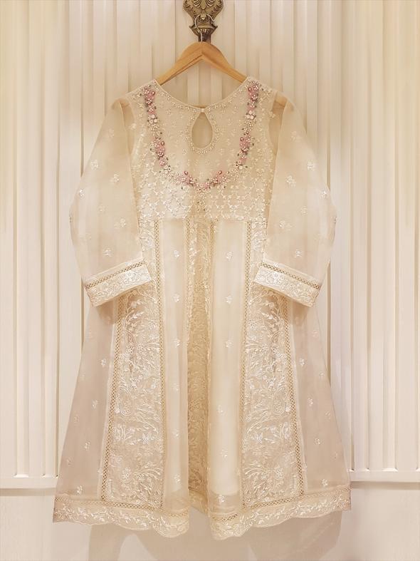 Agha Noor S100836 O.White Pure Organza Embellished Long Shirt Winter 2020 - chambeili.com