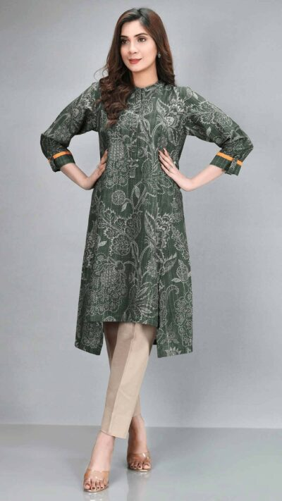 Limelight C1248SH Army Green Printed Slub Khaddar Long Shirt Winter 2020 - chambeili.com