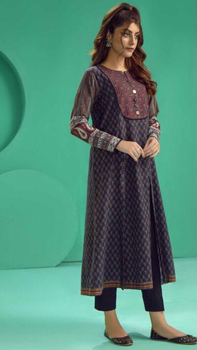 Limelight P4164SH Black Printed Slub Khaddar Long Shirt Winter 2020 - chambeili.com